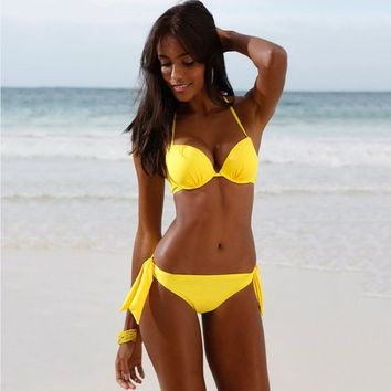 2017 new hot sexy yellow bikini suit ladies swimsuit Brazil Biquini swimsuit swimsuit beachwear