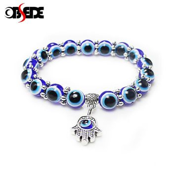 OBSEDE Fashion Silver Color Blue Evil Eye Hamsa Hand Fatima Palm Bracelets for Women Beads Chain Vintage Jewelry Gifts