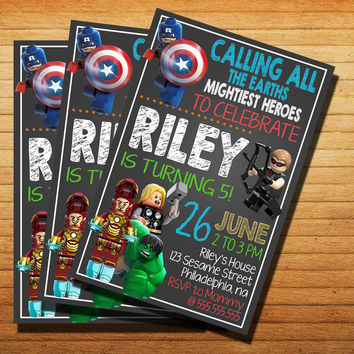 Avenger Colorfull Chalkboard Invitation Cards 4x6, 5x7, Customized