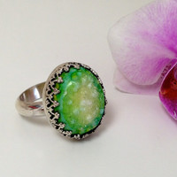 Oval Druzy Crown Ring, Sterling Silver
