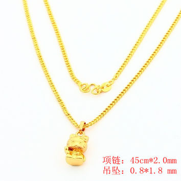 floating charms 24k gold plated necklaces hello kitty collar jewerly accessories YHDN1 3 MP