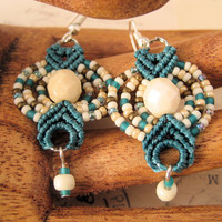 Beachy Beaded Macrame Earrings in Aqua
