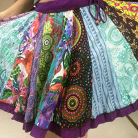 Multicolor skirt, Indian Midi Skirt, Bollywood Skirt, belly dance gypsy skirt, october gift idea, trending items