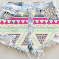 ANY COLOR Aztec Print Ripped Frayed Denim High-Waisted Shorts