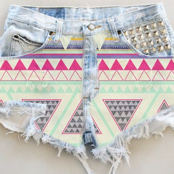 ANY COLOR Aztec Print Ripped Frayed Denim by UniversalShop on Etsy