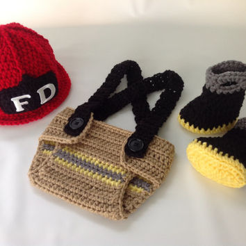 Baby Firefighter Fireman Hat Outfit - 4pc Crochet Diaper Cover Set w/Suspenders & Boots - Photography Prop - Newborn - 0-3 - 3-6