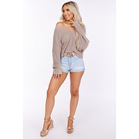Chances Are High Cropped Knit Sweater (Oatmeal)