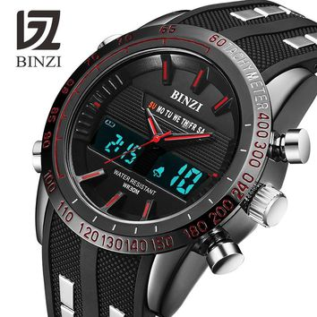 BINZI Luxury Watches Men Brand Sports Watches Led Digital Waterproof Watch Military Men's Quartz Wrist Watch Relogio Masculino
