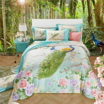 Peacock Flowers Queen/King Tencel Silk 4pcs Bedding Set Boho Style Bedding Moroccan Paisley Duvet Cover  Bed sheet Pillowcases