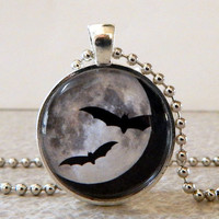 Bat Glass Pendant Necklace, Bat Glass Art Pendant, Halloween Bats Pendant, Halloween Bats Necklace, Moon Pendant, Moon Necklace