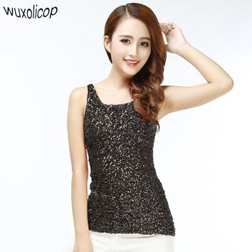 Summer Women T Shirt Shining Glam Sequin Embellished Sleeveless Round Neck Tank Top Sexy Vest Top