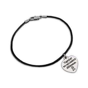 Together We Can Make A Difference Charm on Black Cord Bracelet for Causes