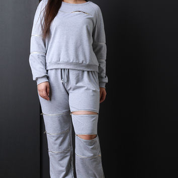 Zippered Drawstring Jogging Pants