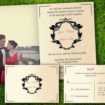 DIY Printable - Vintage Edwardian Classic Victorian Maroon Customizable Wedding Invitation and RSVP  Card Suite