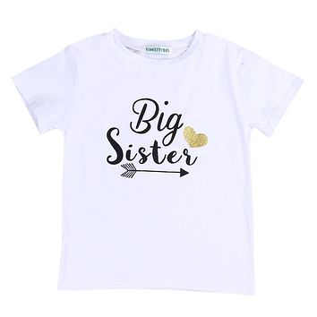 2017 New Toddler Kids Baby Girl Clothes Big Sister Short Sleeve Cotton T-shirt Tops 2-7Y Child T-Shirts Casual Clothing