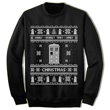 Doctor Who Shirt Ugly Christmas Sweater. Unisex/Adult Sweatshirt. Tardis Shirt. Geek Gift Idea.