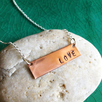 "Handstamped ""LOVE"" Copper Metal Tag on a Sterling Silver Necklace, Create your own message Necklace, Handmade"