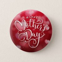 Modern Red White Hearts Happy Mother`s Day Button