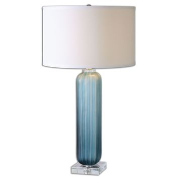 Caudina Frosted Blue Glass Table Lamp by Uttermost