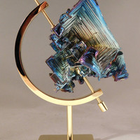 A Big Symmetrical Purple Blue & Gold BISMUTH Crystal With a STAND From England 312.0gr e