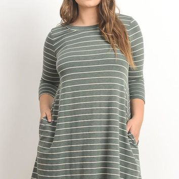Sully Sage Striped Dress | Plus