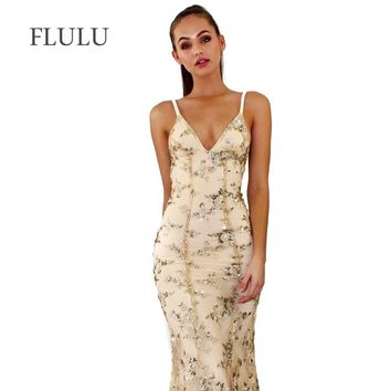 FLULU Summer Dress Women 2018 New Sexy Backless Strapless Sequined Dress Vintage Slim Mermaid Party Club Dresses Female Vestidos