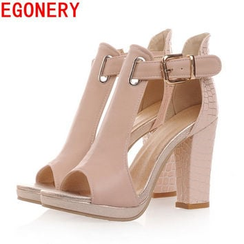 EGONERY sandals 2017 fashion summer pumps sexy peep toe women's high heels 3 color platform shoes woman T-Strap shoes sandals