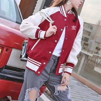 """Adidas"" Women Retro Fashion Multicolor Stripe Long Sleeve Cardigan Baseball Uniform Coat"