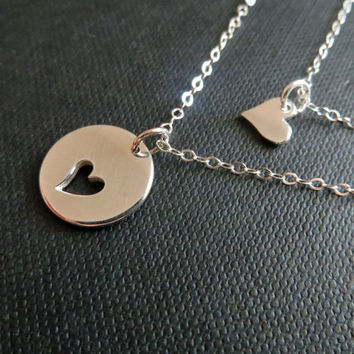Mother necklace, mother daughter jewelry, sterling silver heart necklace for mother of the bride