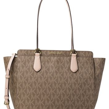 Michael Kors Dee Dee Large Convertible Tote Shoulder Bag in Signature MK. Mocha