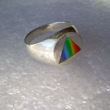 LGBT Symbol Ring Size 7 OR 9-Vintage Sterling Silver-Rainbow Triangle-Equality-Pride-Unity-Inlay or Enamel-Mens Womens