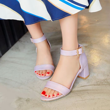 Candy Colors Ankle Straps Chunky Sandals 3504