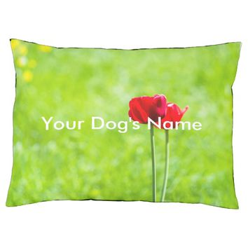 Two red tulip flowers large dog bed