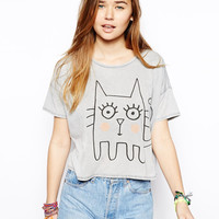Gray Cat Print Shirt Tee