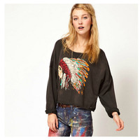 Indian Pattern Skull Print Punk Long Sleeve Round-neck Hoodies [7322496065]