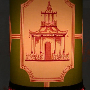 Japanese Pagoda Drum Lamp Shade/Green, Cream, Red Cranberry Cotton Upholstery Fabric/Off White Grosgrain Ribbon Cranberry Red Fringe Trim/