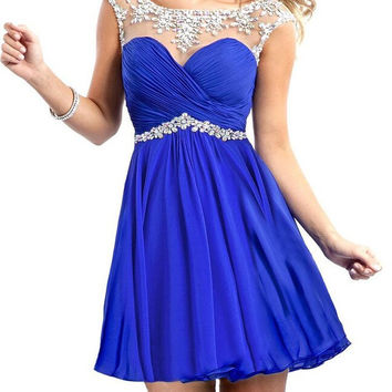 Homecoming Dress,Blue Lace Chiffon Beadings Short Prom Dress