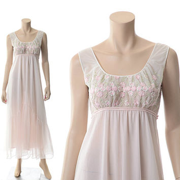 Vintage 60s Pink Chiffon Embroidered Nightgown 1960s Eyeful by The Flaums Flower Embroidery Lingerie Night Gown / XS-S