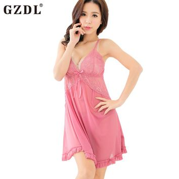 Bow-knot Sheer Babydoll Spaghetti Strap Nightgown with T-Back Thongs