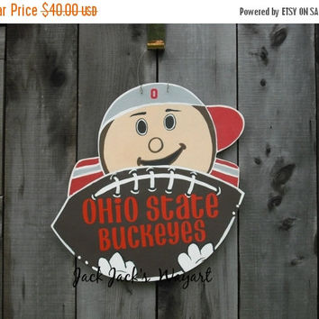 FALL BLOWOUT SALE Buckeyes - Brutus - Ohio State -  Brutus door hanger - Ohio State door hanger -  Football decor - Red Grey - © Jack Jack's