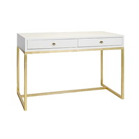 Worlds Away William White Lacquer Desk on Gold Leaf Base