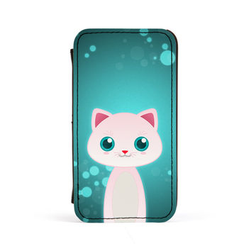 White Cat PU Leather Case for iPhone 4/4s by DevilleArt
