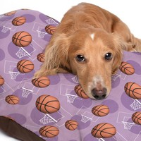 Purple Basketball Themed Pattern Pet Bed - 3 Sizes