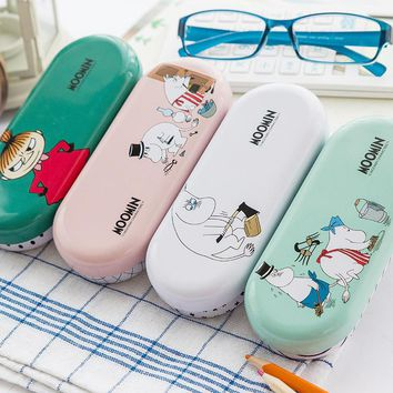 1X Bad Girl Moomin Cartoon Tin Glasses Case Pencil Storage Box School Office Supply Gift Student Stationery