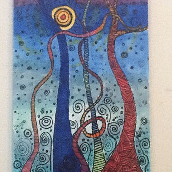 original abstract art card  marker drawing undergrowth red blue surreal landscape aceo