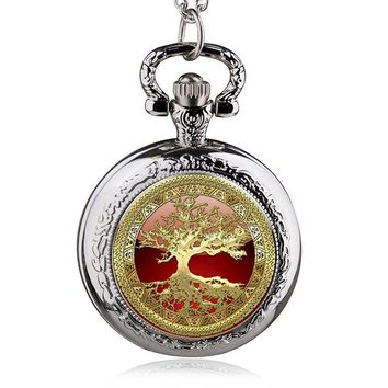 2017 New Antique Steampunk Copper Life Tree Pattern Necklace Pendant Pocket Watch Charms For Jewelry