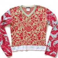 Shop Now! Ugly Sweaters: Custo Barcelona Asian Floral Tacky Ugly Sweater Women's Size Medium/Large (M/L) $35 - The Ugly Sweater Shop