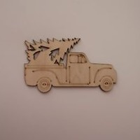 Truck with Christmas Tree Wood Shapes, 6 Pieces, Laser Cut & Etched, Ornaments