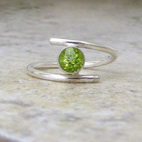 Peridot Silver Ring August Birthstone-Chartreuse Lime Green