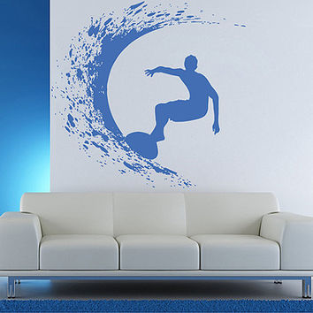 kik1115 Wall Decal Sticker Sea surf surfer wave hawaii living room bedroom